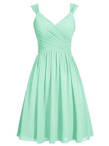 Strap Evening V Dress Neck Womens ASBridal Chiffon Short Bridesmaid Mint Prom Homecoming HwtRnzq1