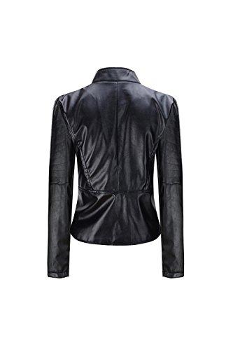 De Pu Bomber Biker Yacun Black Cuero Imitacion Outwear Chaqueta Slim Mujeres qHrqSwa5I