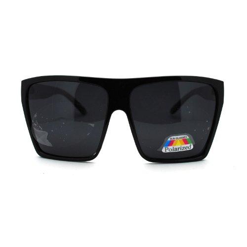 Polarized Extra Oversize Flat Top Mobster Rectangular Fashion Sunglasses - Rectangular Oversized Sunglasses