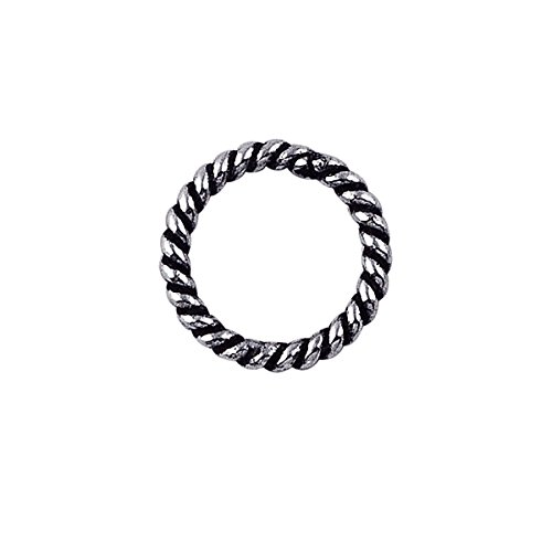 Sterling Silver Closed Jump Ring Twisted Oxidised JCSS-102-8MM