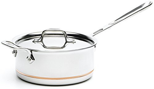 All-Clad 6203 SS Copper Core 5-Ply Bonded Dishwasher Safe Saucepan with Lid / Cookware, 3-Quart, Silver (Best Copper Cookware For The Money)