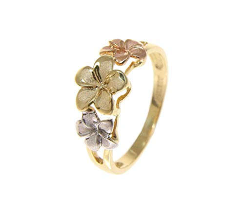 Solid 14k tricolor gold 6.5mm-8mm-6.5mm Hawaiian plumeria flower ring size 8