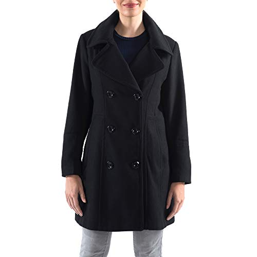 (alpine swiss Norah Womens Wool Blend Double Breasted Peacoat Black Small)