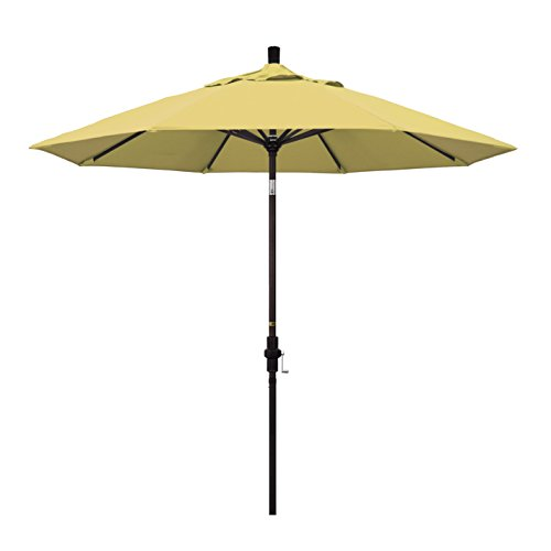 California Umbrella 9' Round Aluminum Market Umbrella, Crank Lift, Collar Tilt, Bronze Pole, Sunbrella Wheat by California Umbrella