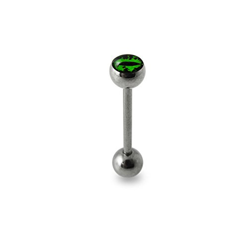 Green Devil's Eye Logo Tongue Ring. 14Gx7/8(1.6x22mm) 316L Surgical Steel Barbell with 6/6mm Ball Tongue Piericng jewelry. Price per 1 Piece only.