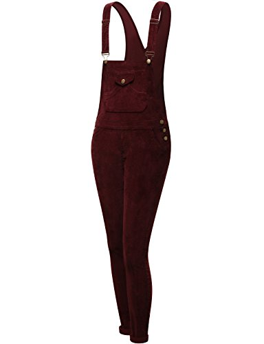 FPT Womens Classic Long Fitted Overalls BURGUNDY LARGE