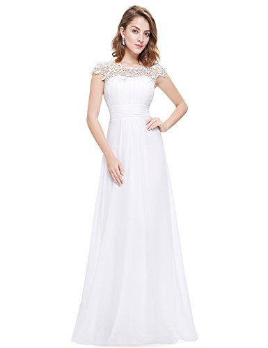 Ever Pretty Womens Cap Sleeve Lace Neckline Ruched Bust Evening Gown 14 US White