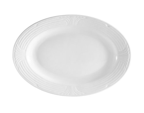 CAC China CRO-34 Corona 9-Inch by 6-1/4-Inch Super White Porcelain Oval Platter, Box of 24 ()