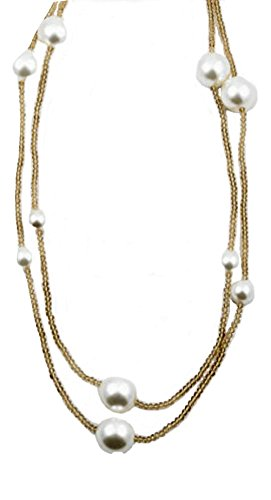 (Beaute Fashion Collection XL Faux Pearl Y Necklace Lariat Pendant (64