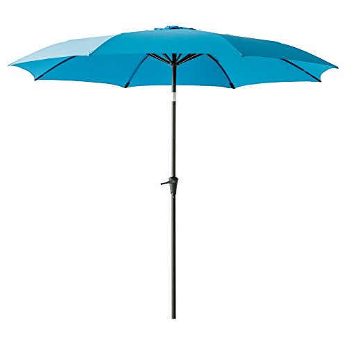 FLAME&SHADE 10′ Patio Outdoor Market Umbrella with Crank Lift, Fiberglass Rib Tips, Push Button Tilt, Aqua Blue Review