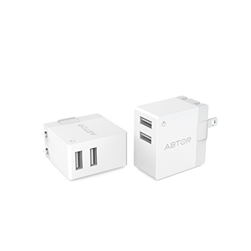 【2 Pack】Dual USB Travel Wall Charger with 2 Ports and SmartID Technology, Foldable Plug for iPhone iPad, Samsung Galaxy, HTC Nexus Moto Blackberry and More.(White)