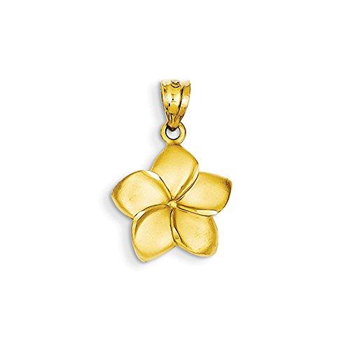 Plumeria Mm 15 Pendant (14k Yellow Gold 15mm Satin Plumeria Pendant)