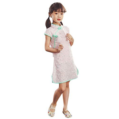 Hstore❀ Childrens Short Sleeve Chinese Style Flower Print Cheongsam Dress Toddler Baby Girls Kids Party Princess Dresses Pink
