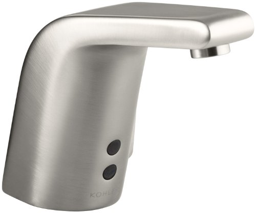 KOHLER K-13462-VS Sculpted Touchless Ac-Powered Deck-Mount Faucet with Mixer, Vibrant Stainless Ac Powered Electronic Faucet