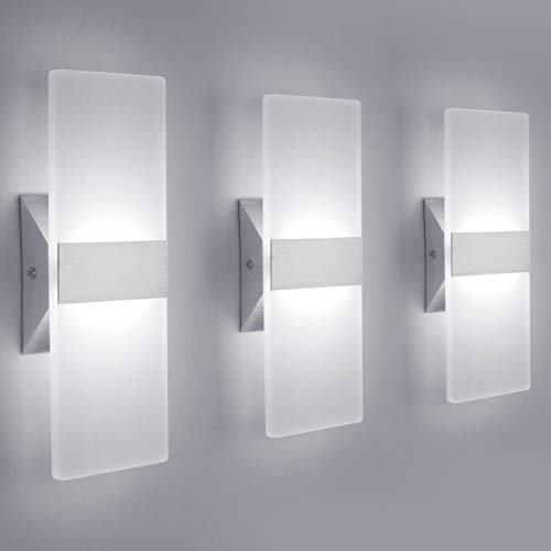 LED Wall Sconce Modern Wall Light Lamps 12W Cool White 6000K Up and Down Indoor Acrylic Lighting Fixture for Living Room Bedroom Hallway Conservatory Not Dimmable(3 Pack) (Lamp Wall Contemporary)