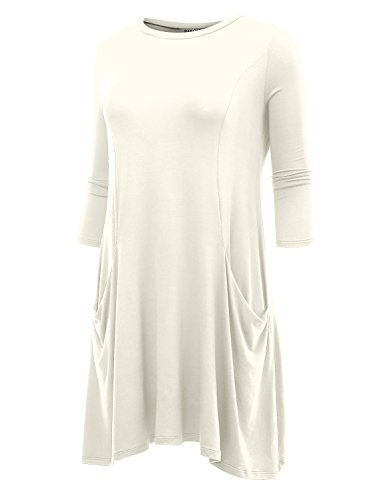 0bcfafbb874c BIADANI Women's 3/4 Sleeve Front Pockets Round Neck Casual Flowy Tunic  Dress Ivory XX-Large - Buy Online in Oman. | Apparel Products in Oman - See  Prices, ...