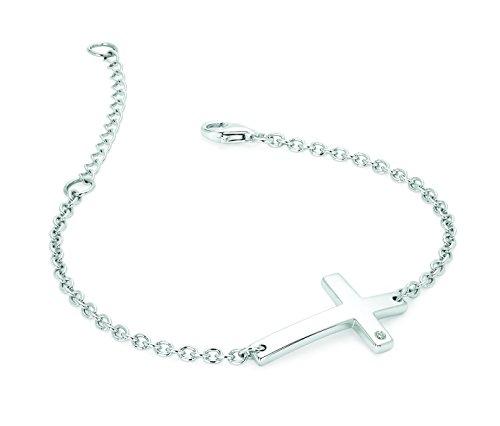en argent sterling avec accents de diamant Bracelet, croix latérale réglable