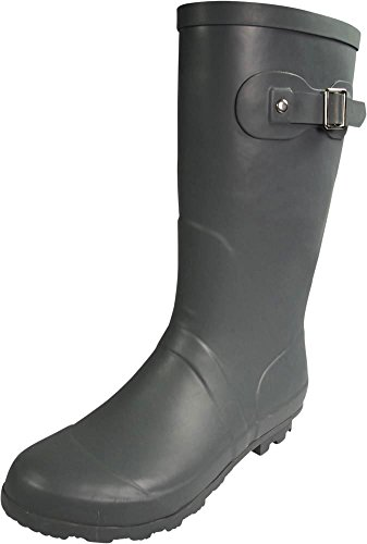 NORTY - Womens Hurricane Wellie Solid Matte Mid-Calf Rain Boot, Matte Charcoal 39968-10B(M) US (Sox Ladies Charcoal)