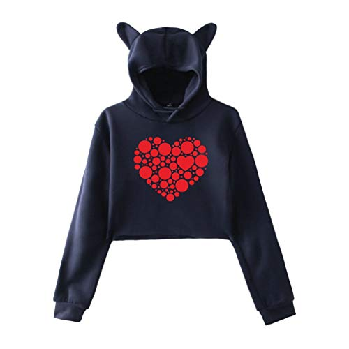 Aunimeifly Women's Hooded Sweatshirt Cat Ears T-Shirts Heart-Shaped Print Tops Loose Shirt Short Blouse(Navy,M)
