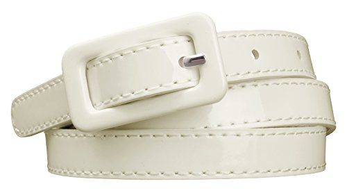 Womens Covered Buckle Patent Leatherette Skinny Belt (M(30.5