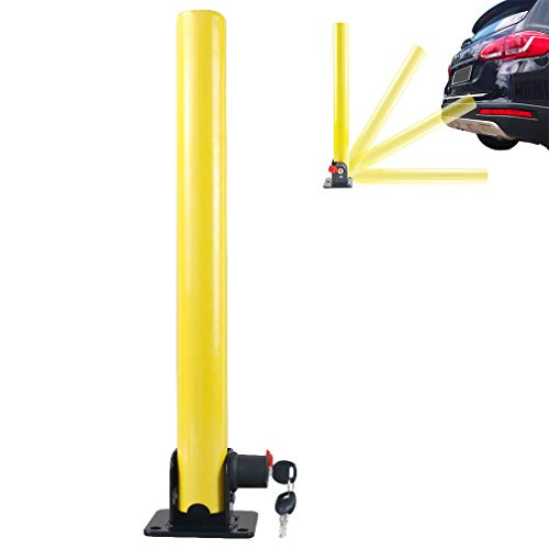 Oklead Folding Parking Post Lock for Home Driveways Reserved Flexible Fold Down Steel Security Park Sign Post Barrier