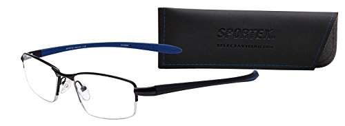 (Sportex Readers Men's Semi-Rimless Metal AR Reading Glasses Blue, 2.00 )