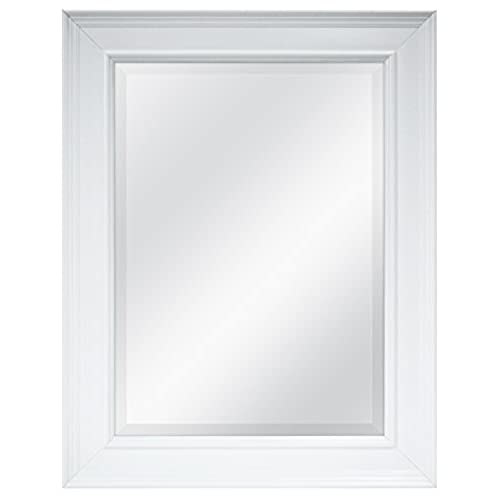 MCS 15.5x21.5 Inch Beveled Mirror, 22.5x27.5 Inch Overall Size, White  (20450)
