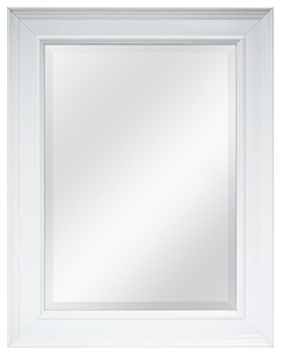 MCS 15.5x21.5 Inch Wall Mirror, 21.5x27.5 Inch Overall Size, White (20450) (Rectangular Swivel Mirror)