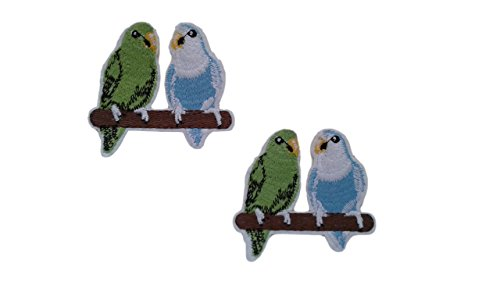 Love Birds Applique (2 pieces LOVE BIRDS Iron On Patch Fabric Applique Lovebird Animal Motif Cartoon Decal 3.1 x 2.5 inches (7.8 x 6.3 cm))