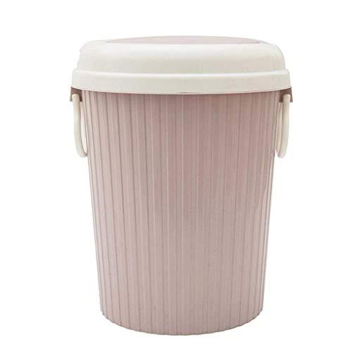 MADHEHAO Ronde Plastic Prullenbak Met Druk Top Deksel, keuken Afvalbakken Vuilnisbak, badkamer Prullenbak, kantoor…