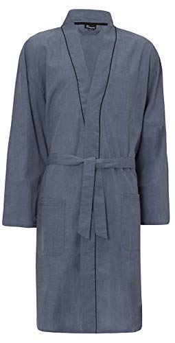 770cbd93e2d INSIGNIA Mens Plain Woven Lightweight Cotton Poly Dressing Gown Robe   Amazon.co.uk  Clothing