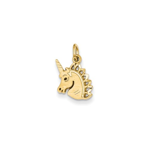 14k Yellow Gold Satin and Diamond Cut Unicorn Head Charm (Charm Yellow Gold 14k Unicorn)