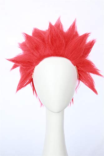 HangCosplay: Eijiro Inspired Short Red Spiky Wig Halloween Anime Costume Prestyled Hair for Men -