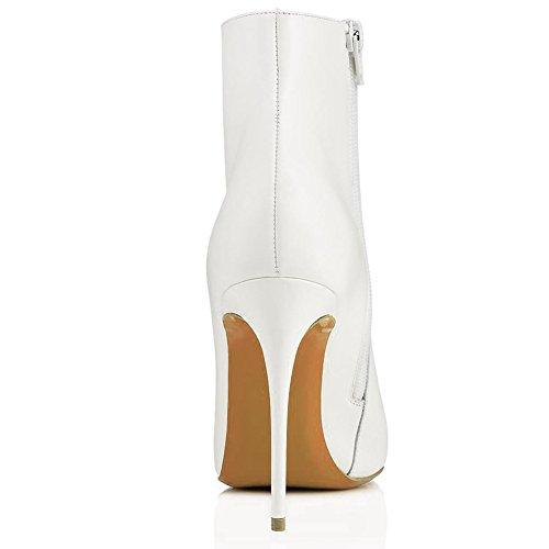 Party Booties TLJ Reißverschluss 071302 Heels KJJDE 43 Seitlicher Pumps White Stiefel Spitze High Damen Zehe q0wqvI7