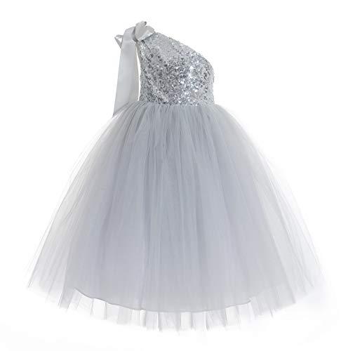 (ekidsbridal One-Shoulder Sequin Tutu Flower Girl Dress Wedding Pageant Dresses Ball Gown Tutu Dresses 182 M)