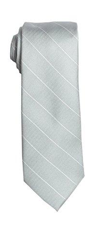 SPREZZA Men's Pinstripe Tie Silver Classic 2.75 inch Slim Polyester Necktie