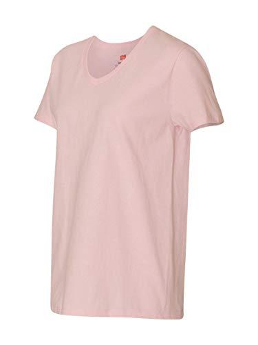 Hanes womens 5.2 oz. ComfortSoft V-Neck Cotton T-Shirt(5780)-Pale Pink-M