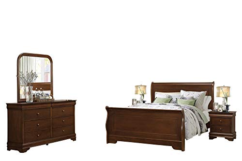 Cal King Sleigh Bedroom Set - Addler Louis Philippe 5PC Bedroom Set Cal King Sleigh Bed, Dresser, Mirror, 2 Nightstand in Brown Cherry