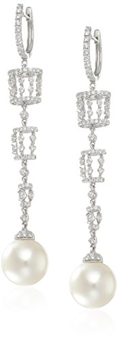 """Tara Pearls """"Carousel"""" 18k White Gold, White South Sea Pearl, and Diamond Drop Earrings (1 1/4cttw, G-H Color, SI1-SI2 Clarity)"""