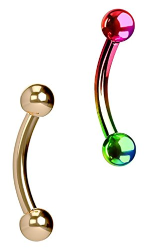Forbidden Body Jewelry Set of 2 Petite Belly Rings: 14g 5/16 Inch Surgical Steel Curved Rose Gold & Rainbow Barbells, 3mm Balls