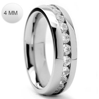 Stainless Steel Classy Eternity Ring with Centered Multi Simulated Diamond on Channel Setting Comfort-Fit Band, Width 4MM - Crazy2Shop