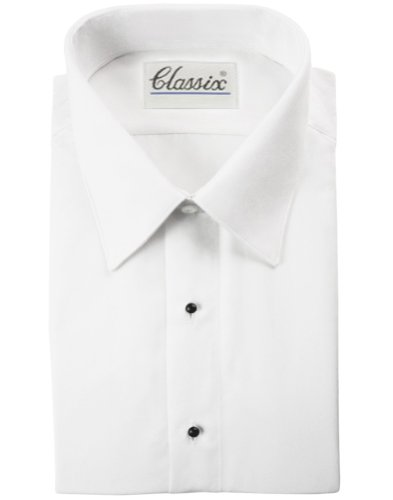 Tuxedo Shirt - Non Pleat Microfiber Ultra Laydown Collar, White (16
