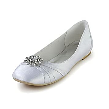 ac403a52f369 FAGL Bridal Satin Flat Heel Flats with Rhinestone Wedding Special Occasion  Shoes(More Colors
