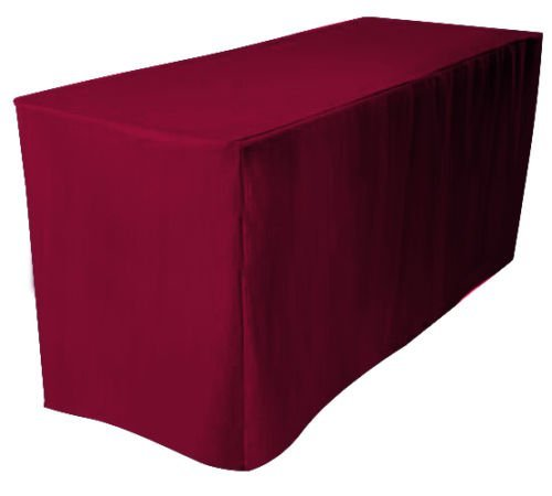 Urby 6 ft Fitted Polyester Tablecloth Burgundy Red (Fitted 6' Tablecloth Polyester)
