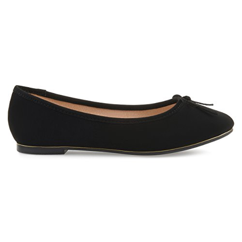Brinley Co Womens Corky Bow Detail Wide Width Ballet Flats Black, 10 Regular US Detail Bow