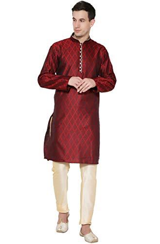 - SKAVIJ Men's Tunic Kurta Pajama Set Indian Traditional Dress (Large, Red)