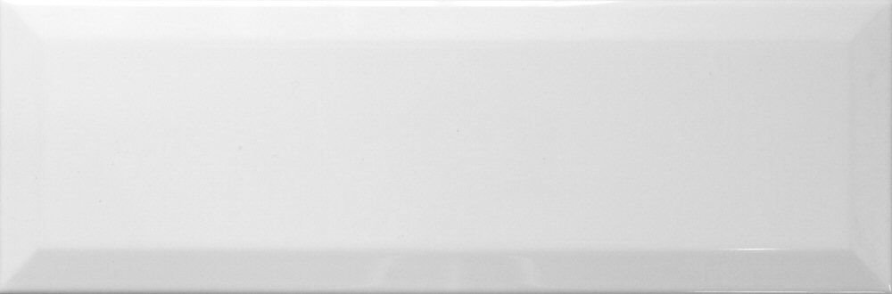 White Ceramic Beveled Subway Tile 4'' X 16'' (Box of 10 Sq Ft)- Glossy Finish