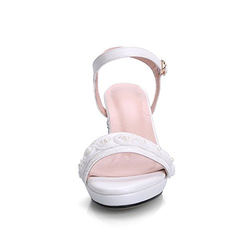AllhqFashion Women's High Heels Open-Toe Buckle Pu Solid Sandals Beige loi6bLoeuP