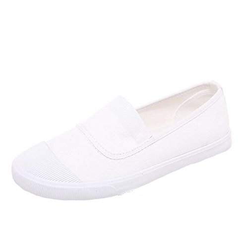 ANDAY Girl's Casual Canvas Rubber Toe Loafers Flats Trainers Travel Shoes White 9nnpE