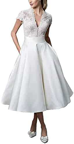 ac0d2005d143 DD Bridal Women's Short Sleeves Vintage Wedding Dress Tea Length Bridal  Gowns